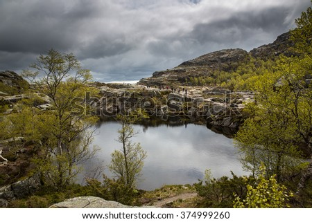 Landscape on the track to Preikestolen, Norway. - stock photo