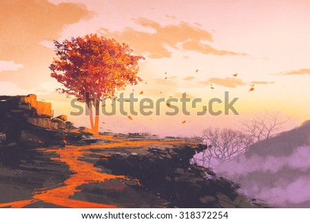 landscape painting of melting autumn tree on top of the mountain - stock photo
