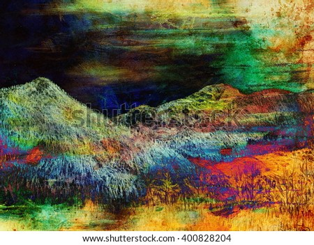 landscape painting on old paper and Color Abstract background. - stock photo