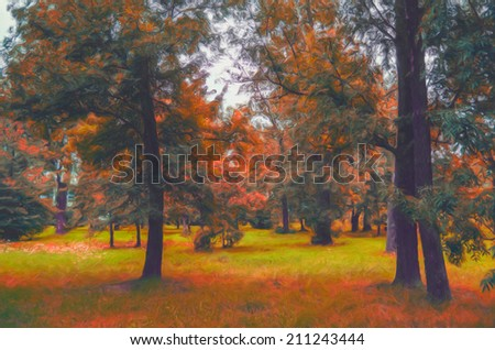 Landscape painting showing colorful autumn forest.
