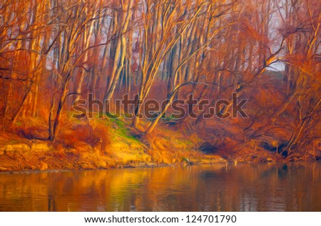 Landscape painting showing colorful forest beside river shore on sunny autumn day. - stock photo
