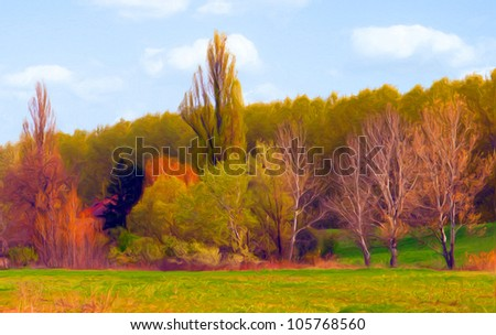 Landscape painting showing forest and the meadow on beautiful autumn day. - stock photo