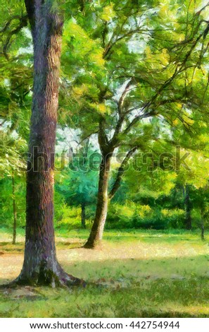 Landscape painting showing forest on sunny autumn day. - stock photo