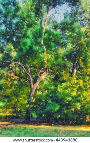 Landscape painting showing forest on sunny summer day. - stock photo