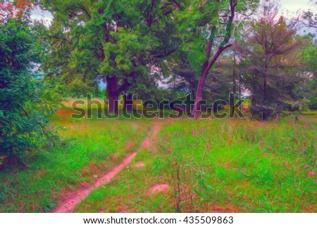 Landscape painting showing forest or park on sunny summer day.