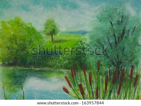 Landscape painting showing lake in summer. - stock photo
