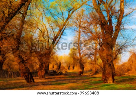 Landscape painting showing old forest on sunny spring day. - stock photo