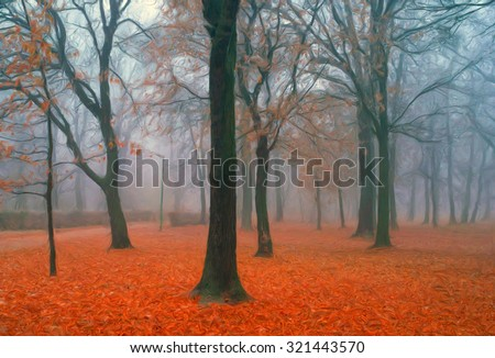Landscape painting showing park on moody autumn day. - stock photo