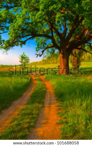 Landscape painting showing road that leads around huge oak on sunny spring day. - stock photo