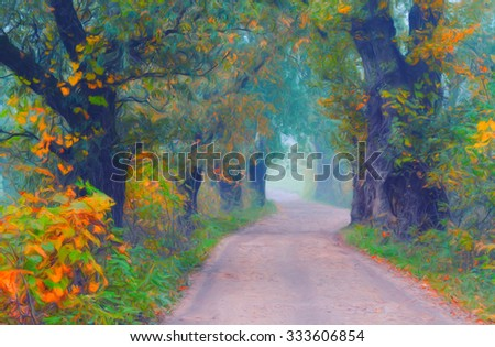 Landscape painting showing road through forest on beautiful autumn day. - stock photo