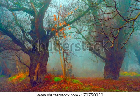 Landscape painting showing spooky forest in winter. - stock photo