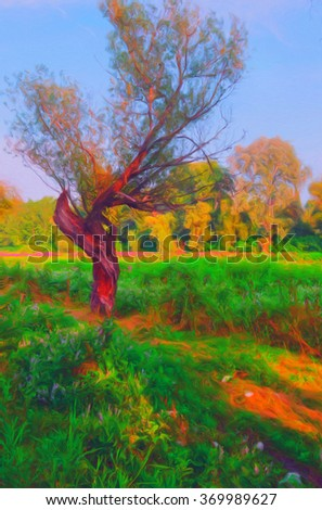 Landscape painting showing wild forest on sunny spring day.