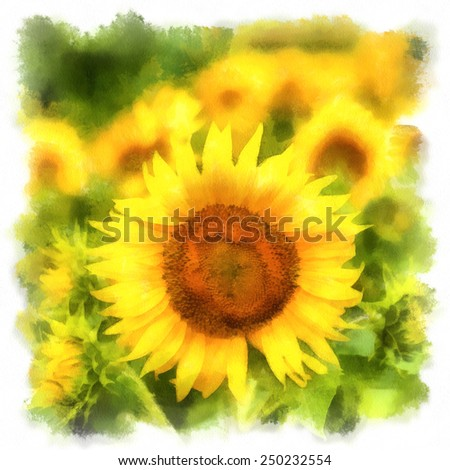 landscape painting showing with sunflower field - stock photo