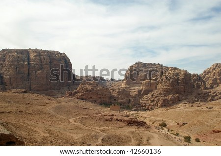 Landscape panorama of the Petra national park area