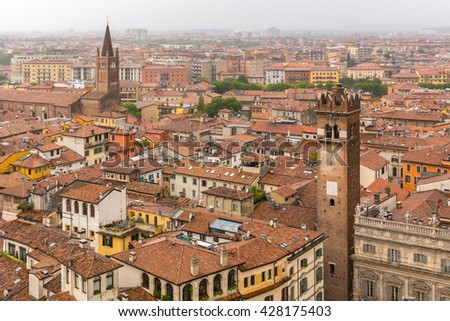 Landscape (panorama) of Verona (Italy) from highest tower in city center