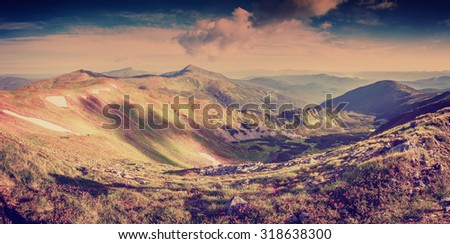 Landscape panorama with flowers in mountain and majestic sky, vintage picture - stock photo
