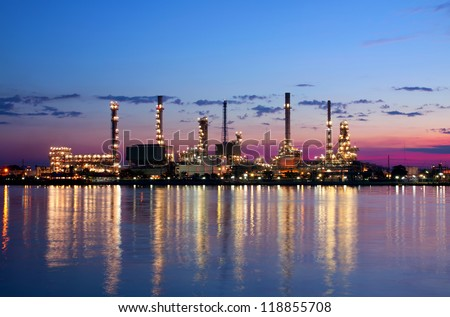 Landscape petrochemical oil refinery factory pipeline in the morning near river at  Bangkok Thailand - stock photo