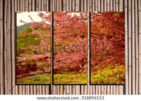 landscape photo collage frame on bamboo background
