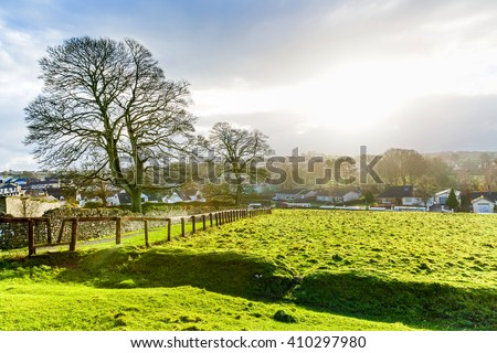 Landscape photo of a picturesque irish countryside - stock photo