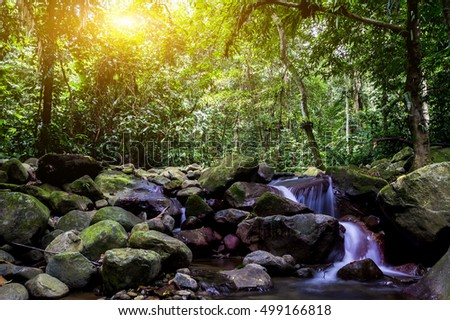 Landscape photo of beautiful waterfall in rainforest during sunrise at Selangor, Malaysia