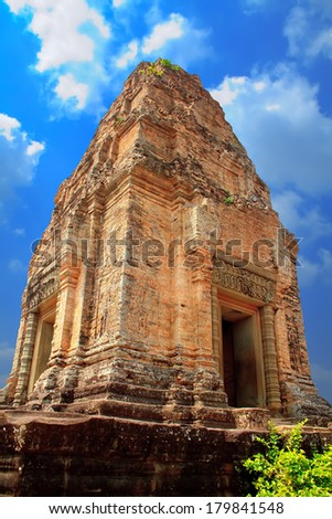 Landscape photo of Classical picture of ancient Cambodian  Temple, Angkor, Cambodia - stock photo