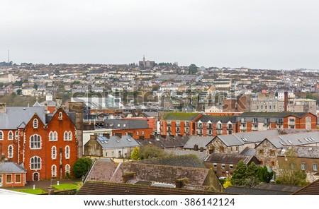 Landscape photo of Cork city in Ireland - stock photo
