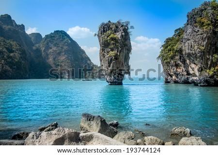landscape photo of Khao Phing Kan island, known as james bond island in phuket/James bond - stock photo