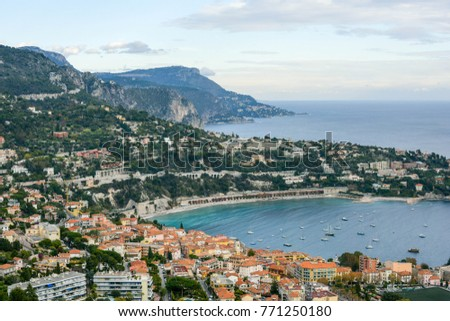 landscape photo of the French city of Villefranche in the south of France