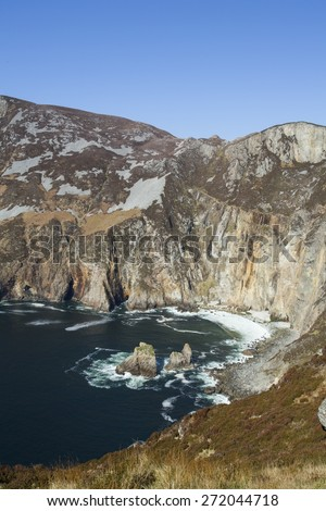 Landscape photo of the Slieve League cliffs in Co. Donegal in Ireland - stock photo