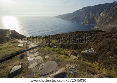 Landscape photo of the stepping stone path at Slieve League cliffs in Co. Donegal in Ireland - stock photo