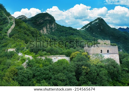 Landscape photo of the wild Great Wall under blue clear sky, the Jiankou section, the most beautiful part - stock photo
