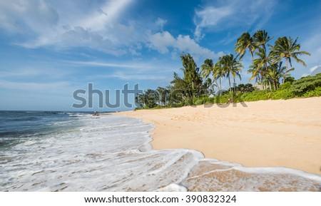 Landscape photo of tranquil island beach  - stock photo