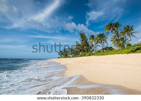 Landscape photo of tranquil island beach  - stock photo