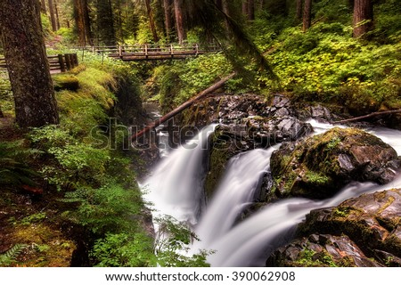 Landscape photograph of Sol Duc Falls in the Olympic National Park of Washington State.