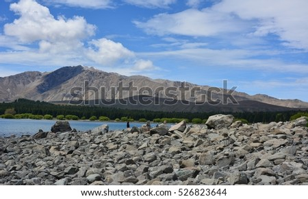 Landscape scenery of lake and mountain.