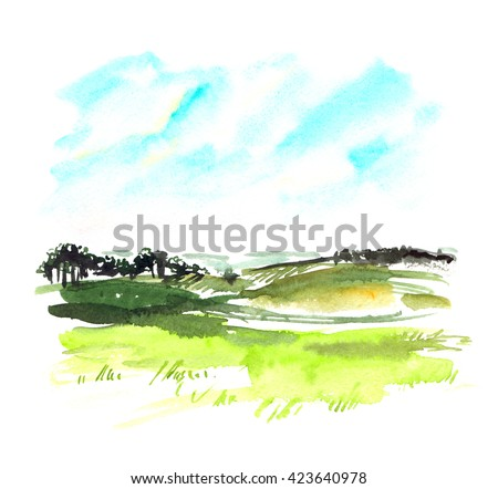 Landscape scenery painted in watercolor on pale purple background - stock photo