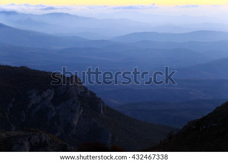 landscape scenic sunrise in the mountains of Crimea, view from the top of the mountain Demerdzhi