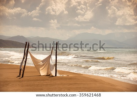 landscape sea sandy coast in the summer, Albania, Adriatic Sea - stock photo