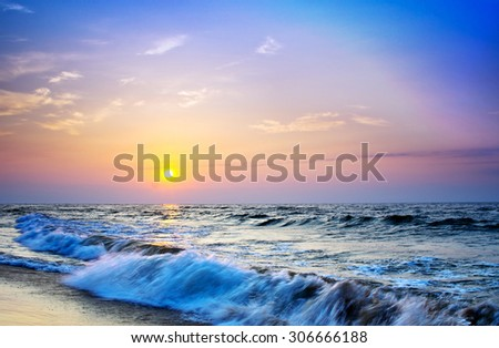 landscape sea sunrice golden sky
