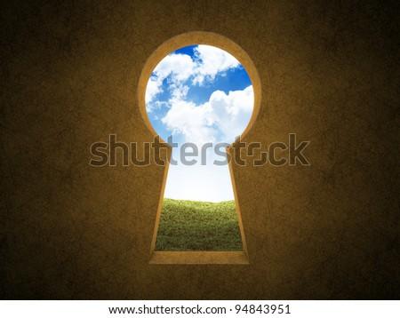 Landscape seen through a keyhole - stock photo