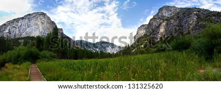 Landscape shot in Sequoia and Kings Canyon National Park California. - stock photo