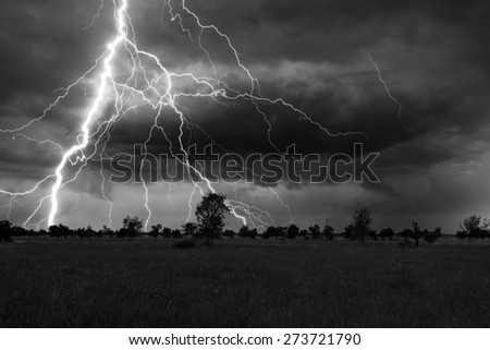 Landscape showing meadow and trees during summer storm with thunder and lightnings. - stock photo