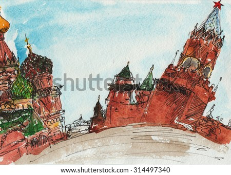 landscape sketch technique - Red Square with the Kremlin placed on it and the temple of Christ the Savior
