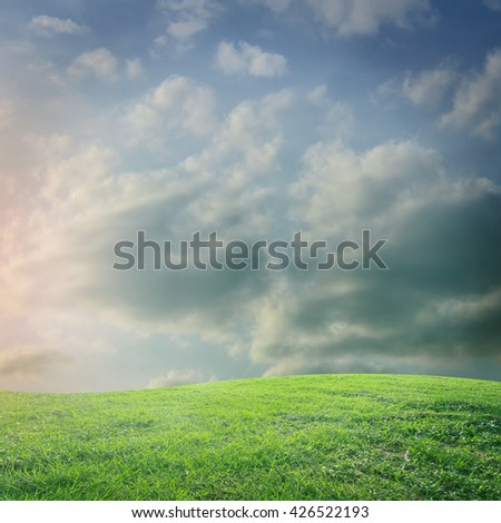landscape sky and grass on background