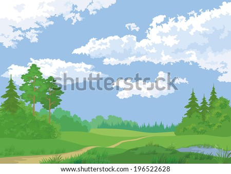 Landscape, summer green forest and blue sky. - stock photo