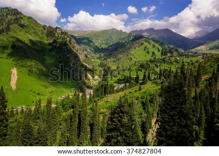 Landscape. Summer in mountains. Kazakhstan, Trans-Ili Alatau. - stock photo