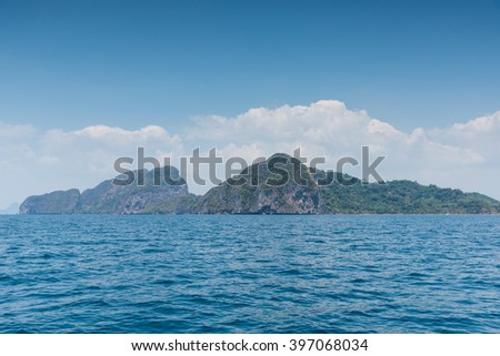 Landscape summer on the sea and formations mountain at andaman Thailand