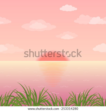Landscape, sunrise on the sea, green grass and pink morning sky with sun and clouds. - stock photo