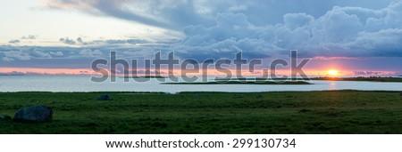 Landscape sunset on the Baltic sea - stock photo