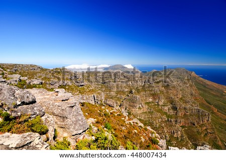 Landscape surrounding Table Mountain in Cape Town, South Africa.